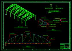 دانلود اتوکد نقشه سازه، فلزی، جزییات اجرایی سایبان متراژ 20 در 10